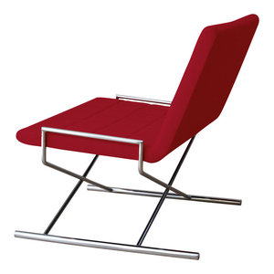Chelsea X Chair, Chrome Plated Steel Tubes Base, Red Camira Wool