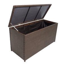 Poly Rattan Garden Storage Chest, Brown