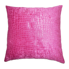 """Fiachra Solid Down Filled Throw Pillow, Magenta, 12""""x18"""""""