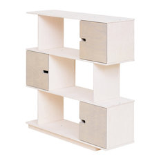 PIX Modular Shelving Unit, White and Pebble Grey, 3 Cupboards