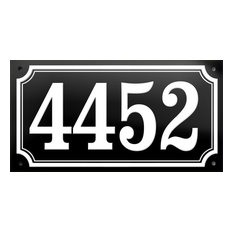 """Number """"4452"""" Enamelled Wall Plaque, Black, Double Border"""