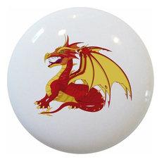Red Dragon Ceramic Cabinet Drawer Knob