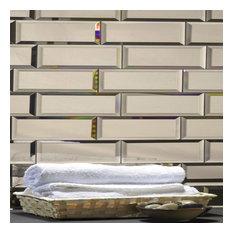 "Gold Beveled Glass Mirror Subway Tile Backsplash, 3""x12"", Set of 56"