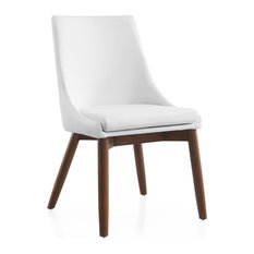 Casabianca Home Creek White Eco-Leather/Walnut Legs Dining Chair