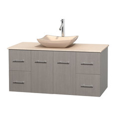 48 in. Single Bathroom Vanity in Gray Oak, Ivory Marble Countertop, Avalon Ivory