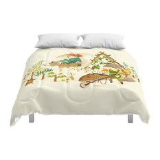 Society6 Critters, Summer Gardening Comforter, King, 104x88