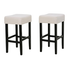GDF Studio Coventry Fabric Backless Counter Stool Beige Set Of 2