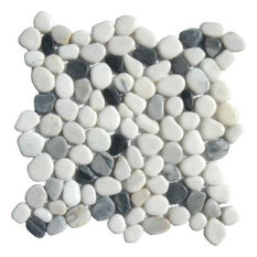 12x12 Black/White Pebbles Marble Mosaic Floor & Wall Tile, Single Sheet Sample