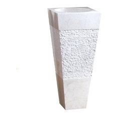 Tikamoon - Vasque blanche sur pied en Marbre Square Cream - Lavabos