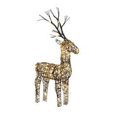 Brown Wicker Standing Reindeer Outdoor, Warm White LED, 60cm