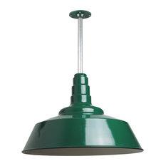 "Barn Lighting 20"" Pendant With Rigid Stem, Green"