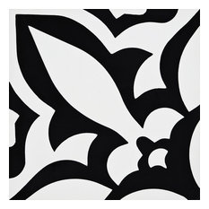 "8""x8"" Meknes Handmade Cement Tile, Black/White, Set of 12"