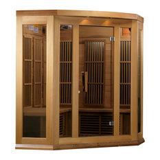 Maxxus 3 Person Corner Low EMF Far Infrared Carbon Heater Sauna, Red Cedar