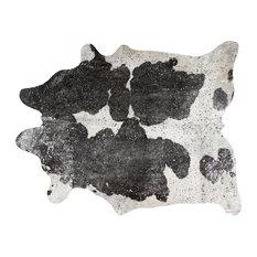 Scotland 6'x7' Cowhide Rug, Black/White/Silver