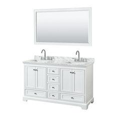 "Deborah 60"" Double Vanity, 58"" Mirror, White, White Carrera Marble, Undermount"