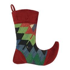 """Kilim Christmas Stocking 13"""", Jade"""