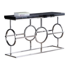 Meridian Furniture - Brooke Chrome Console Table, Chrome Base and Black Glass Top - Console Tables