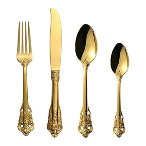 24-Piece Vintage 18K Gold Plated Stainless Steel Silverware Set, 6 Settings