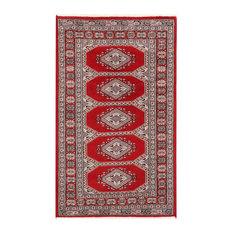 "ALRUG Handmade Deep Red Oriental  Jaldar Rug, 3'x4'11"""