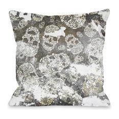 """""""Stamped Skulls"""" Indoor Throw Pillow by OneBellaCasa, 18""""x18"""""""