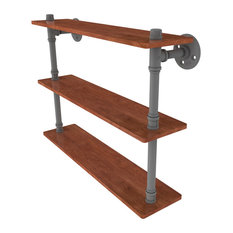"Pipeline Collection 22"" Ironwood Triple Shelf, Matte Gray"