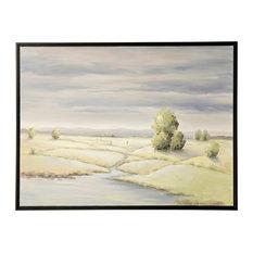 """Field Brook Landscape, 48""""x36"""" Hand Embellished Canvas Print, Framed"""