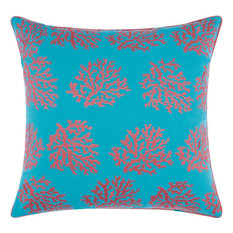 Embellished Corals Outdoor Throw Pillow, Turquoise, Coral