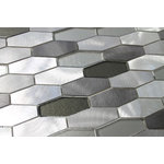 """Rocky Point Tile Co - Kings Cross Long Hexagon Brushed Aluminum and Glass Mosaic Tile, 12""""x12"""" - Looking for something cool and neutral? Try on our glass and aluminum mixed mosaic tiles. Colors include a variety of greys and silvery aluminium pieces. You'll notice the glass pieces have a textured backing that adds a nice dimension to these stunning tiles."""