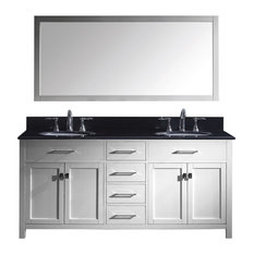 "Virtu Caroline 72"" Double Bathroom Vanity, White , Black Granite Top, Mirror"