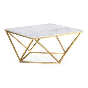 Leopold Marble Cocktail Table - White, Gold