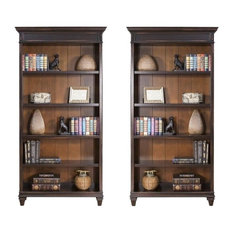 (Set Of 2) Vintage Bookcase In Two Tone Distressed Black