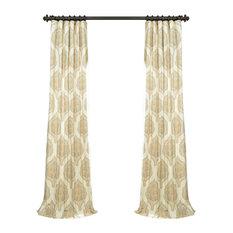 """Arabesque Tan Printed Cotton Twill Curtain, 50""""x96"""""""