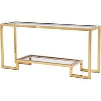 Vienna Console, Brass, Polished Nickel, Clear