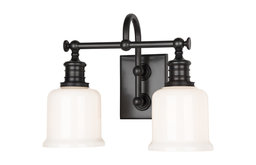 Keswick 2-Light Bath and Vanity With Opal Glossy Glass Shade, Old Bronze