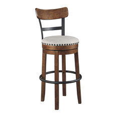 Farmhouse Bar Stool Engineered Wood With Round Seat And Back Brown