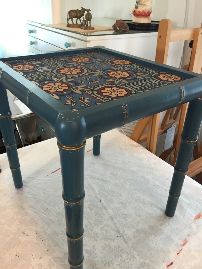 Pair of Hand Painted Faux Bamboo Side Tables with Glass Insert