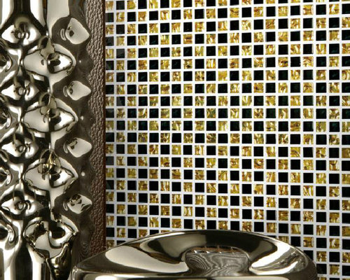 Black gold glass wave tiles backsplash mosaic decor for Gold mosaic bathroom accessories