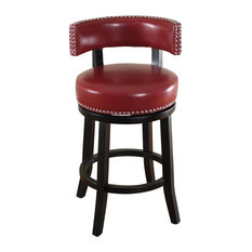 Monsoon Pacific - Mossoro Dark Brown Swivel Leather Counter Stool Red - Bar Stools and  sc 1 st  Houzz & Red Leather Bar Stools and Counter Stools | Houzz islam-shia.org