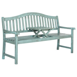 Safavieh Griffin Outdoor Bench, Coastal Blue, Large