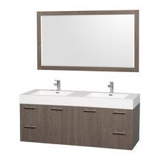 "60"" Double Bathroom Vanity in Grey Oak With Acrylic-Resin Top, Mirror"