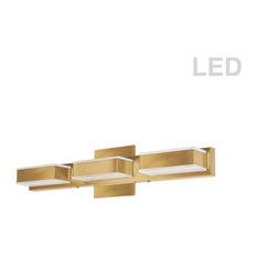 3-Light LED Wall Vanity, Gold
