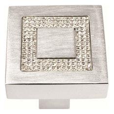 "Atlas 3192-MC: 1-3/8"" Crystal Square Inset Cabinet Knob - Matte Chrome"