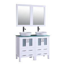"""Bosconi Double Vanity, White, 48"""""""