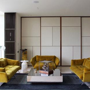 Ispirazione per un soggiorno minimal stile loft con pareti bianche, pavimento in marmo e pavimento bianco