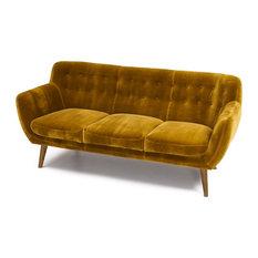 Rhodes Mid-Century Modern Tufted Sofa Antique Gold