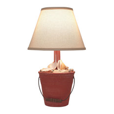 Mini Bucket of Shells Accent Lamp, Weathered Coral