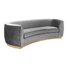 Meridian Furniture   Julian Velvet Sofa, Gray, Gold Base   Sofas