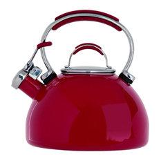 Prestige Porcelain Enamel Whistling Kettle, Red, 2 l.