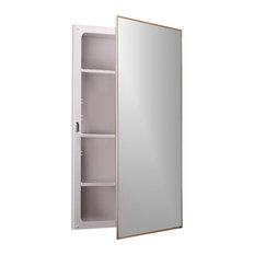 """Style line 16""""x26"""" Stainless Trim Recess Mount Plastic Housing Medicine Cabinet"""