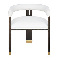 Worlds Away Jude White Linen and Brass Accent Chair